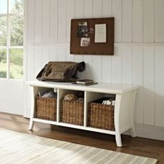 Entryway Bench With Storage Baskets And Cushions