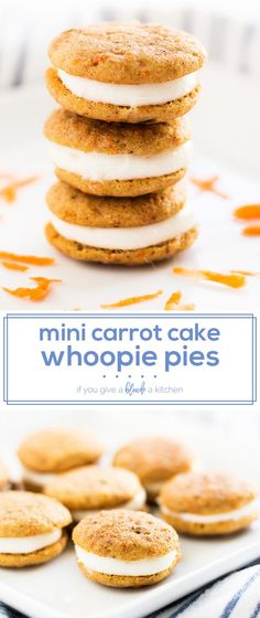 mini carrot cake whoopie pies are the perfect bite-size dessert for Easter. Each carrot cake whoopie pie is held together with cream cheese frosting. Try the easy recipe and enjoy! | www.ifyougiveablondeakitchen.com