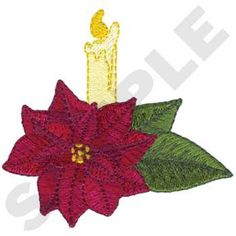 Poinsettia with Candle Embroidery Design | AnnTheGran