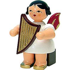 Angel with lyre  -  red wings  -  sitting  -  5cm / 2inch