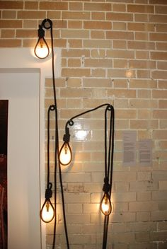 Lighting is made from cotton which has been braided around the power cable making it seem like rope; the cable itself is then manipulated around the light bulb to create different surrounds such as the noose.  Currently sold at www.mintshop.co.uk