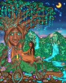 "Art by 🌳 🌙 ""The trees are my teachers. Arte Alien, Arte Indie, Psychadelic Art, Psy Art, Black Love Art, Spirited Art, Hippie Art, Dope Art, Visionary Art"