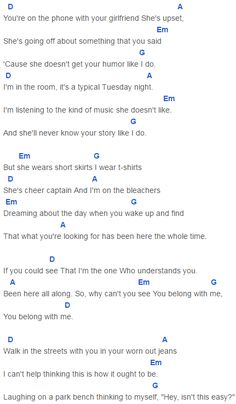 Capo 4 You Belong with Me Chords Taylor Swift