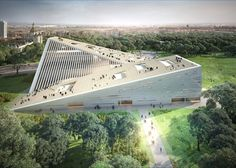 Snøhetta, SANAA, Budapest museum competition, New National Gallery Budapest, Ludwig Museum Budapest, museums, competitions, sloping roof, green architecture, Japanese architects, Norwegian architects: