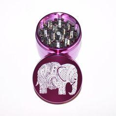 Floral Elephant Design Laser Etched Metal Herb Grinder - 4 piece herb grinder w…