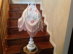 Shabby Cottage Chic Lampshade Vintage Porcelain Lamp Romantic Lampshade by ShadyLadyCreationsCo on Etsy