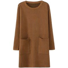 Khaki Womens Striped Thick Pockets Long Sleeve Sweater Dress ($40) ❤ liked on Polyvore featuring dresses, khaki, sweater dress, longsleeve dress, khaki dress, stripe dress and brown long sleeve dress