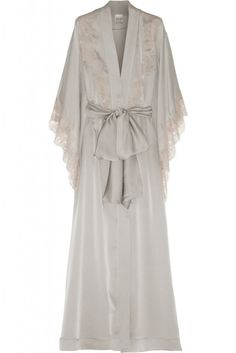 Carine Gilson Lace Trimmed Silk Satin Robe - this dove grey color is so lush!