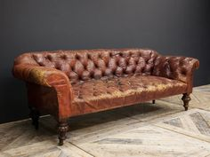 Red Leather Sofa - Chesterfield