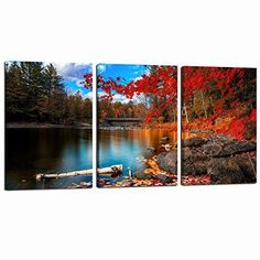 [Framed] Red Maple Lake Nature Landscape Canvas Picture Prints Wall Home Decor #SeaCharm #Impressionism