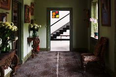 C Z GUEST - Leopard-patterned carpeting adds exotic texture to the mint hallway walls of Templetons ground floor.(Photo by Elvin McDonald, courtesy of Rizzoli) Hallway Walls, Entry Hallway, Hallways, Foyer, Patterned Carpet, Floor Finishes, Love Home, Wall Treatments, Interior Design Inspiration