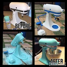 Sand and Spray Paint your boring old white Kitchen Aid Mixer - Tap The Link Now To Find Decor That Make Your House Awesome Kitchen Aid Decals, Kitchen Aid Mixer, Kitchen Appliances, Kitchen Aid Recipes, Kitchen Ideas, Teal Kitchen, Kitchen Paint, Tiffany Blue Kitchen, Kitchen Magic