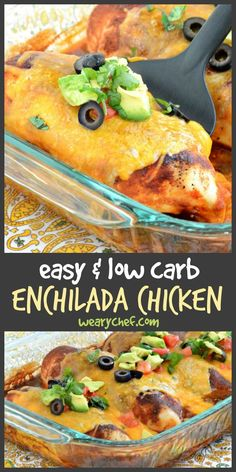 Enjoy the flavor of enchiladas the easy and low carb way with this simple Chicken Enchilada Bake recipe! #enchilada #chicken #lowcarb #mexican #dinner Easy Keto Recipes, Chicken Bake Recipes Easy, Mexican Chicken Bake, Low Car Recipes, Meal Recipes, Keto Chicken, Lunch Recipes, Bariatric Recipes, Baking Recipes