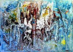 Dipinto astratto ad olio: Informale orizzontale, 1973
