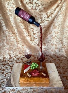 Pouring Wine Bottle Cake With Instructions
