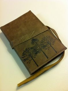 leather journal handprinted customized for you forest by inblue, $25.00