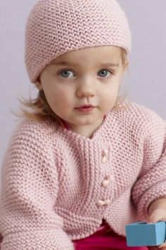 Free Knitting Pattern L0043 Strawberry Pink Sideways Cardigan And Hat : Lion Brand Yarn Company