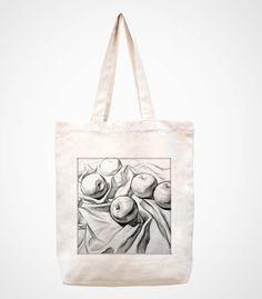 Applehandmade bag/canvas bag/tote bag/canvas tote by canvasanni, $11.90