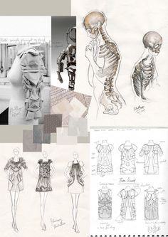 Fashion Sketchbook - fashion sketches and fashion design development with inspirations, garment structure ideas and fabric swatches; fashion portfolio // Sharon Li- look at skeletons for bound feet Sketchbook Layout, Textiles Sketchbook, Fashion Design Sketchbook, Sketchbook Pages, Sketchbook Inspiration, Fashion Sketches, Sketchbook Ideas, Illustration Mode, Illustrations