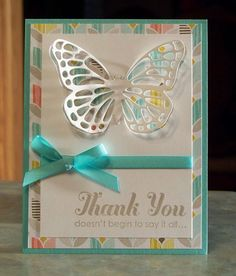Large Dimensional Die-Cut Butterfly Card using Stampin' Up Best Year Ever dsp, Lots of Thanks & the Butterflies Thinlits