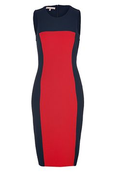 MICHAEL KORS Midnight Blue/Crimson Red Stretch Wool Sheath