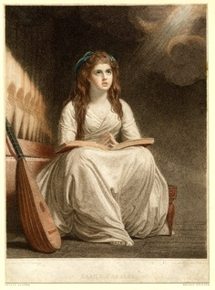 George Keating, After George Romney portrait of Emma Hart, Saint Cecilia, 1780-1810, Stipple printed in colour