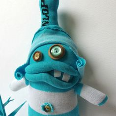 Silly Sock Man - Turquoise and White stripes Zombie Dolls, Creepy Dolls, Ugly Dolls, Sock Crafts, Cute Crafts, Couch Monster, Monster Dolls, Felt Monster, Sock Animals