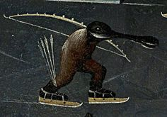 The skating monster (detail of) Bosch, Hieronymus - The Garden of Earthly Delights, Museo del Prado in Madrid,