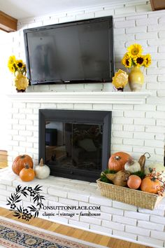 Fall Mantel with TV ~ ideas for working around that big black box!