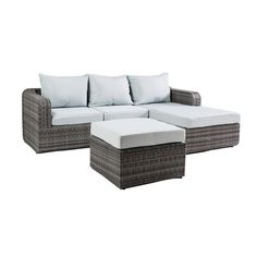 Luies 3pc All - Weather Wicker Patio Conversation Set - Gray with Light Blue Cushions - Thy Hom, Grey