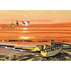 'Beach Boats' by Printmaker Rob Barnes. Blank Art Cards By Green Pebble. www.greenpebble.co.uk British Seaside, New Print, Forest Animals, White Envelopes, Printmaking, My Arts, Greeting Cards, Art Cards, Fine Art