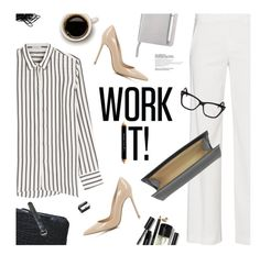"""""""Office Wear"""" by magdafunk ❤ liked on Polyvore featuring Brunello Cucinelli, Bobbi Brown Cosmetics, Vince, Gianvito Rossi, Jil Sander, Buxton, ICE London, Seletti, Christian Dior and The BrowGal"""