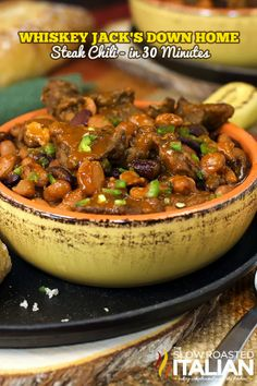 Whiskey Jack's Down Home Steak Chili in Just 30 Minutes ~ A bowl full of smoky, spicy chili beans is joined with the flavors of seared steak and whiskey to create the ultimate steak chili!
