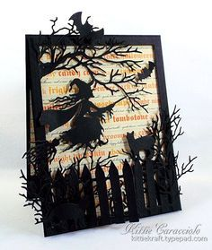 KC Impression Obsession Witch Flying  My spooky project today was made using the newly released Witch Flying, Wide Tree, Picket Fence, Cat Set and Halloween Set...cut the rectangle fence using the Nesting Card Templates, applied thin strips of mounting tape to the back and attached to the designer paper card base.