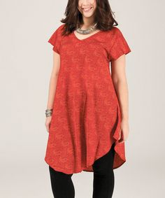 This Red & Orange Paisley Rounded-Hem Tunic - Plus by Aller Simplement is perfect! #zulilyfinds