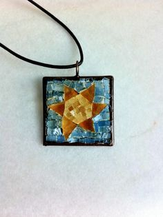 Glass mosaic sun pendant by Albedomosaics on Etsy, $50.00