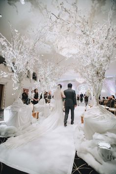 Incredible wintery white decor filled this stunning, intimate celebration. Winter Wonderland Dress, Winter Wonderland Wedding Theme, Winter Themed Wedding, Rain Wedding, Frozen Wedding Theme, Winter Wedding Favors, Winter Wedding Decorations, Wisteria Wedding, Purple And Silver Wedding
