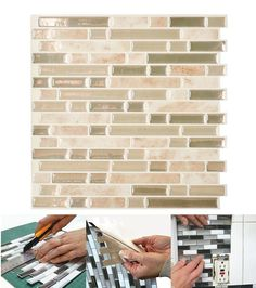 """Peel and stick """"tile"""" makes creating a kitchen backsplash very easy. The tiles are lightweight, easy to handle, cut and maintain, they will remain on your walls for as long as you wish them to be. The tiles can be installed in minutes over a clean and sleek surface without any mess or specialized tools."""