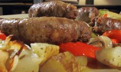 Come enjoy Buddy's recipe for roasted sausage with potatoes, peppers and onions.