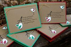 Birds Christmas Card Cute Christmas Card Handmade by CreationsKMP, $8.99