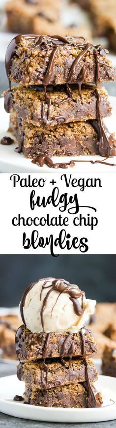 Fudgy Chocolate Chip Blondies {Paleo & Vegan}