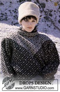 Små-mønstret grafisk DROPS sweater i Camelia med nordisk V. ~ DROPS Design