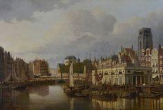 Stadsgezicht Rotterdam met Steiger, Kolk, Grotemarkt met standbeeld van Erasmus en Laurenskerk.  Franciscus Lodewijk van Gulik (Maastricht 1841 - Rotterdam 1899)