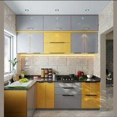 L Shape kitchen Kitchen Wood Design, Kitchen Cupboard Designs, Simple Kitchen Design, Home Decor Kitchen, Interior Design Kitchen, Moduler Kitchen, Kitchen Furniture, Furniture Design, Latest Kitchen Designs