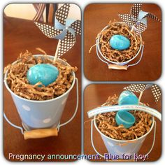 "Cute pregnancy announcement I gave to my mother-in-law. Cute for Easter. Message dYs ""we are egg-specting! Mamas due with baby Due to hatch Oct Grandparent Pregnancy Announcement, Fun Baby Announcement, New Baby Announcements, Eggs For Baby, Egg Baby, Baby Girl Birthday Theme, Baby First Outfit, Surprise Pregnancy, Baby Diy Projects"