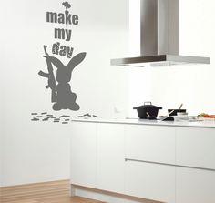 Vinilo texto decorativo del conejo con frase:Make my day