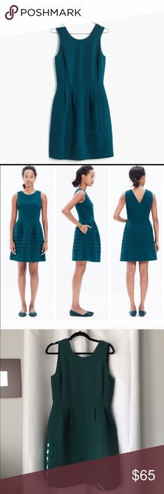 "NWT Madewell Midnight Dress Adorable brand new dark teal dress with tiered bottom and pockets. Cute v-neck in back! Bust is approx 38"" and length is 36"". Madewell Dresses"