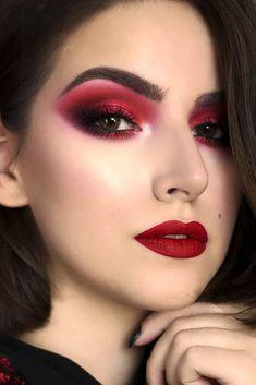 Makeup Looks Dark Skin Shades Trendy Ideas Red Lipstick Tips, Red Lipstick Makeup Looks, Red Makeup Looks, Red Eyeshadow Look, Red Lipstick Shades, Best Lipstick Color, Red Eye Makeup, Lipstick For Fair Skin, Skin Shades