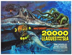 Full poster artwork for Disney's _20,000 Leagues Under the Sea_ (artist unknown) #nautilus