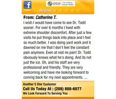 I wish I would have come to see Dr. Todd sooner. For over 6 months I lived with extreme...